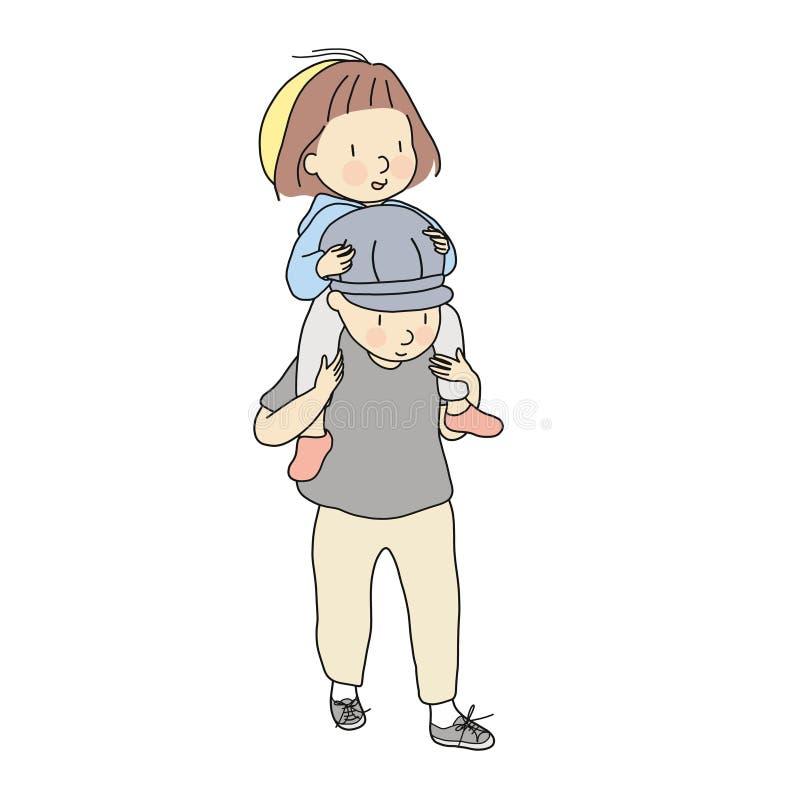 Διανυσματική απεικόνιση των οδηγώντας ώμων μπαμπάδων ` s κοριτσιών παιδάκι Γύρος κορών στην πλάτη μπαμπάδων Πρόωρη ανάπτυξη παιδι διανυσματική απεικόνιση