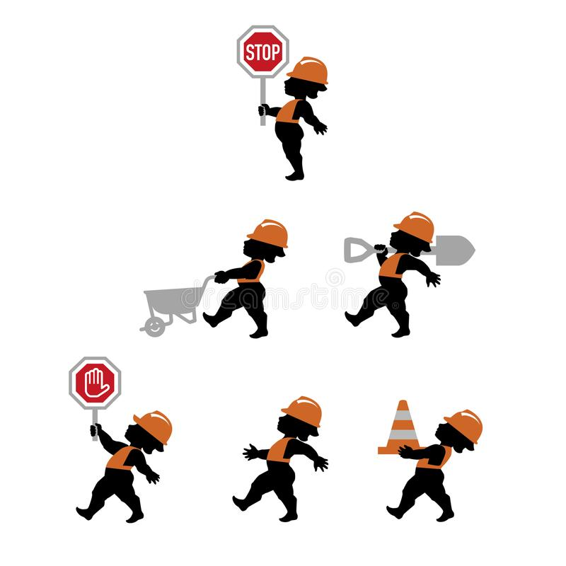 Διανυσματική απεικόνιση των οδικών εργαζομένων στο επίπεδο σχέδιο απεικόνιση αποθεμάτων