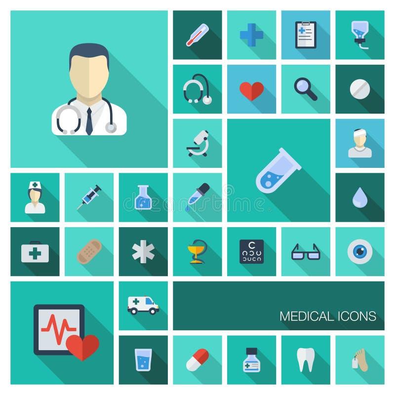 Διανυσματική απεικόνιση των οριζόντια χρωματισμένων εικονιδίων με τις μακριές σκιές Αφηρημένο υπόβαθρο ιατρικής με ιατρικό, υγεία απεικόνιση αποθεμάτων