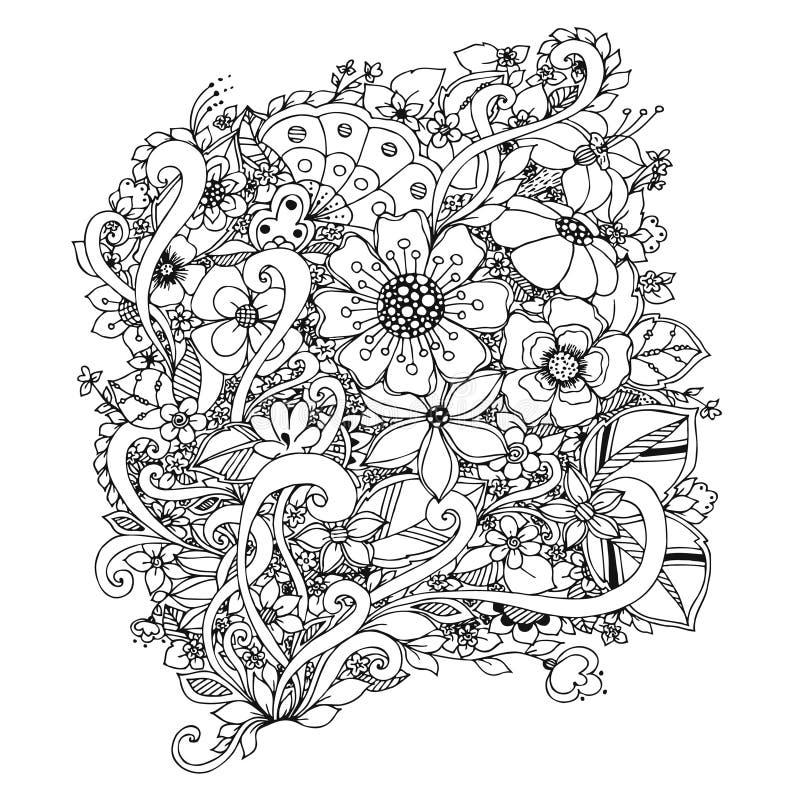 Διανυσματική απεικόνιση των λουλουδιών zentangle, doodle, zenart, σχέδιο μαύρο λευκό Ενήλικα χρωματίζοντας βιβλία διανυσματική απεικόνιση