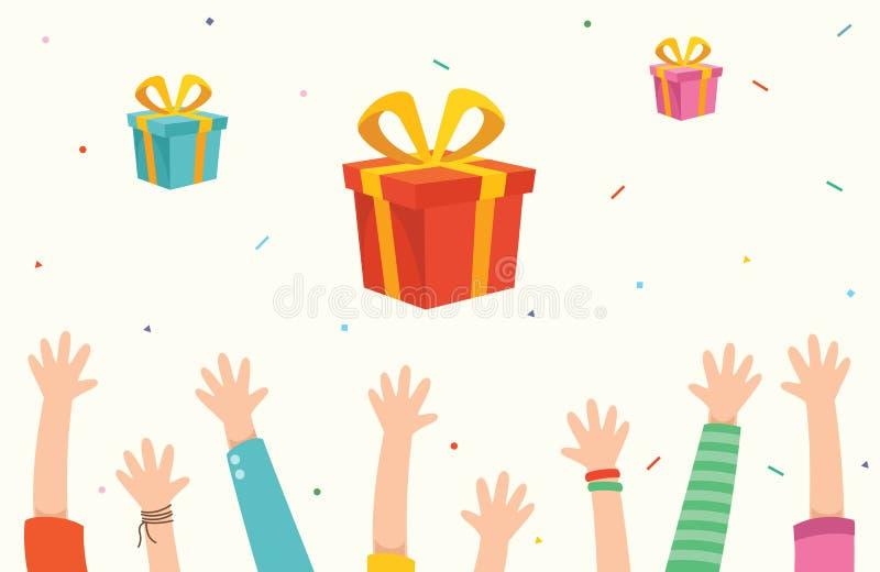 Διανυσματική απεικόνιση των παιδιών και των κιβωτίων δώρων διανυσματική απεικόνιση