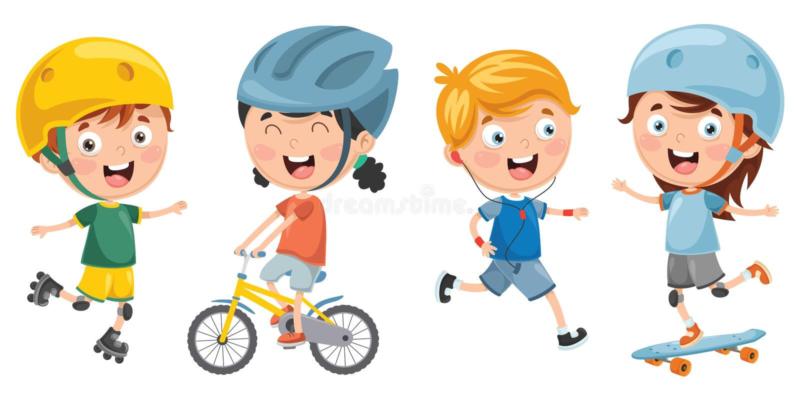 Διανυσματική απεικόνιση των παιδιών που κάνουν τον αθλητισμό ελεύθερη απεικόνιση δικαιώματος