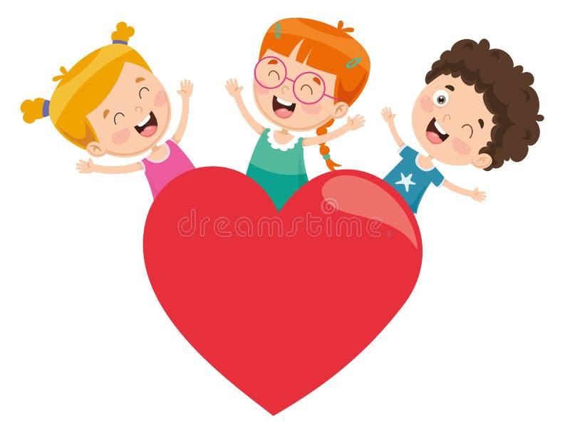 Διανυσματική απεικόνιση των παιδιών που παίζουν γύρω από μια καρδιά απεικόνιση αποθεμάτων