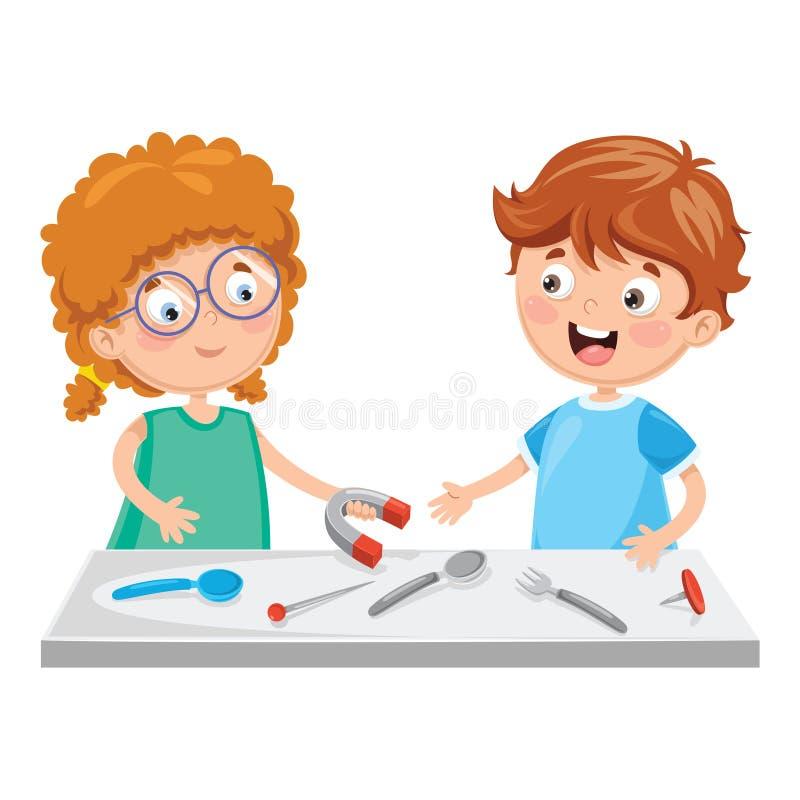 Διανυσματική απεικόνιση των παιδιών που χρησιμοποιούν το μαγνήτη διανυσματική απεικόνιση