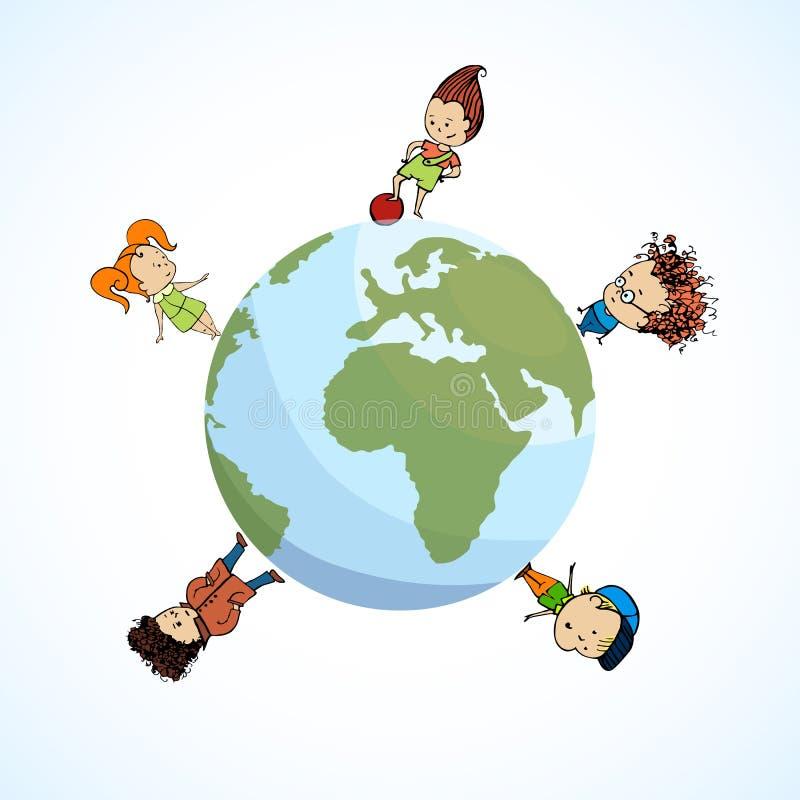 Διανυσματική απεικόνιση των παιδιών μιας ομάδας η σφαίρα απεικόνιση αποθεμάτων