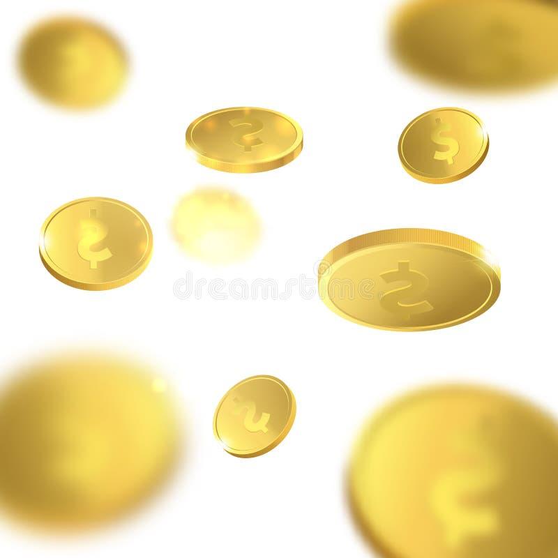Διανυσματική απεικόνιση των πετώντας χρυσών νομισμάτων απομονωμένα χρήματα διανυσματική απεικόνιση