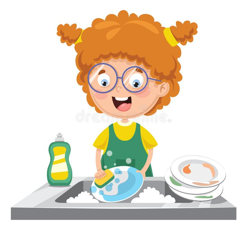 Διανυσματική απεικόνιση των πιάτων πλύσης παιδιών απεικόνιση αποθεμάτων