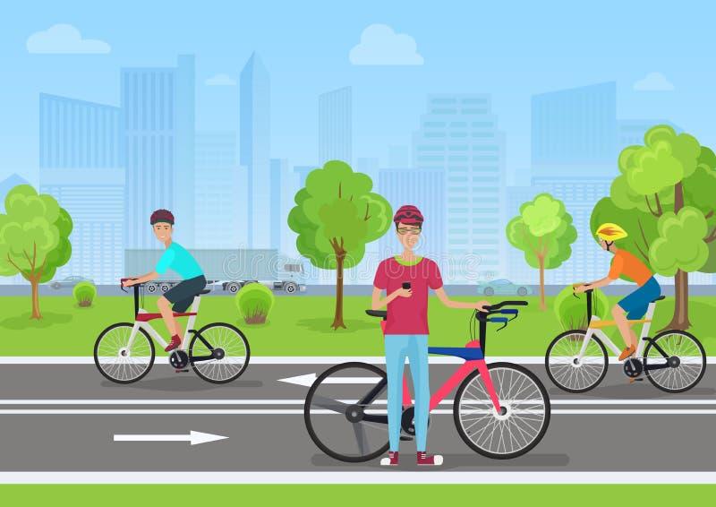 Διανυσματική απεικόνιση των ποδηλατών στο πάρκο Ποδηλάτης ατόμων που χρησιμοποιεί το τηλέφωνό του Οι ποδηλάτες περπατούν στο πάρκ απεικόνιση αποθεμάτων