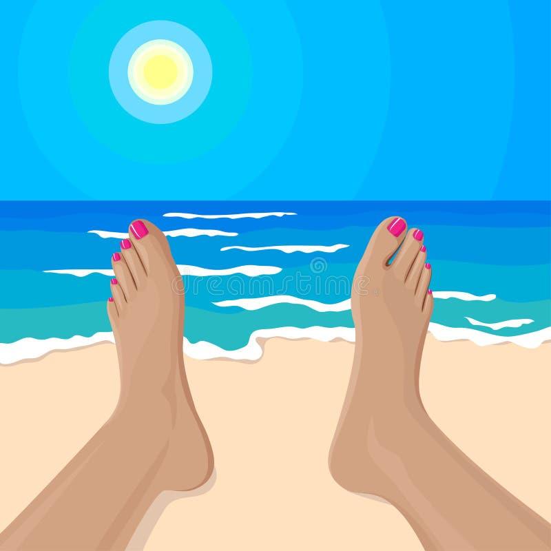 Διανυσματική απεικόνιση των ποδιών του κοριτσιού στην παραλία ελεύθερη απεικόνιση δικαιώματος
