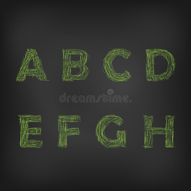 Διανυσματική απεικόνιση των πράσινων σκιαγραφημένων κιμωλία χαρακτήρων σε έναν πίνακα διανυσματική απεικόνιση