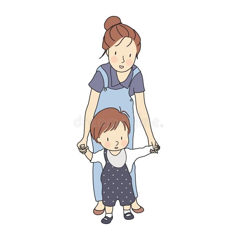 Διανυσματική απεικόνιση των πρώτων βημάτων λίγων μικρών παιδιών Χέρι μωρών εκμετάλλευσης μητέρων και βοήθεια τον να μάθει να περπ ελεύθερη απεικόνιση δικαιώματος