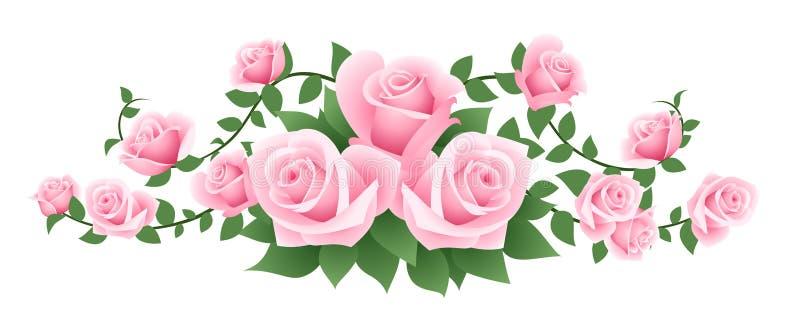 Διανυσματική απεικόνιση των ρόδινων τριαντάφυλλων. διανυσματική απεικόνιση