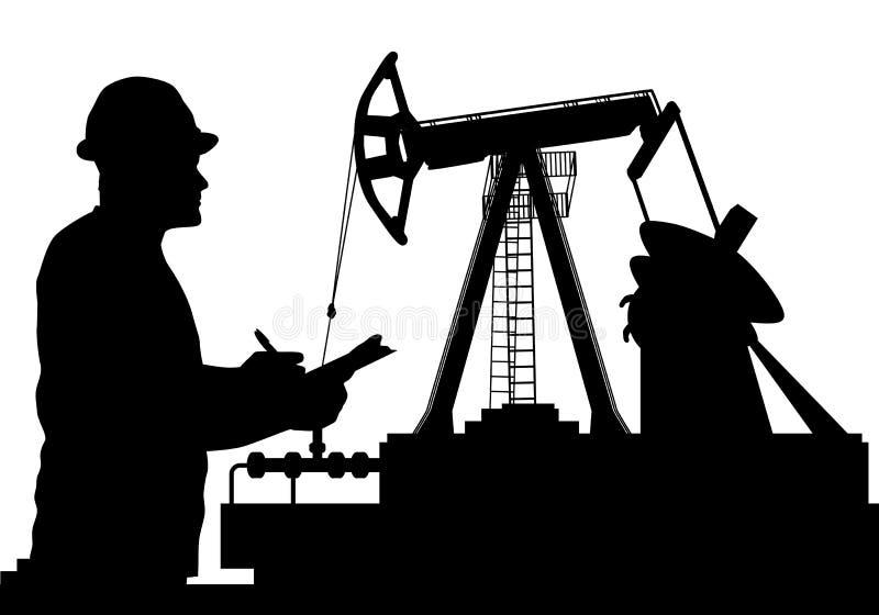 Διανυσματική απεικόνιση των σκιαγραφιών αντλιών εργαζομένων και πετρελαίου ελεύθερη απεικόνιση δικαιώματος