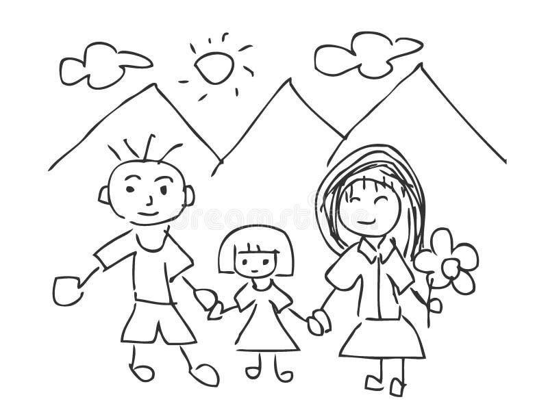 Διανυσματική απεικόνιση των σχεδίων παιδιών, οικογενειακά παιδιά που επισύρουν την προσοχή, πατέρας, μητέρα, γιος, που απομονώνετ απεικόνιση αποθεμάτων