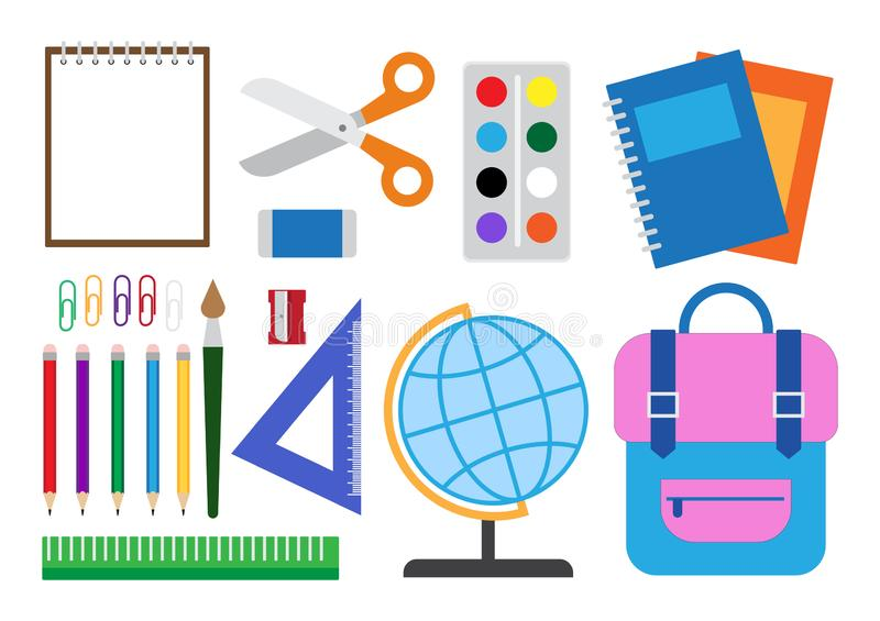 Διανυσματική απεικόνιση των σχολικών προμηθειών καθορισμένων ελεύθερη απεικόνιση δικαιώματος