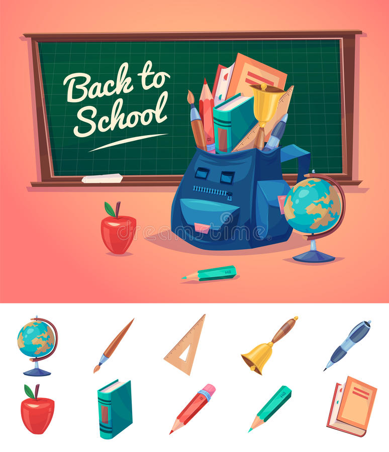 Διανυσματική απεικόνιση των σχολικών αντικειμένων απεικόνιση αποθεμάτων