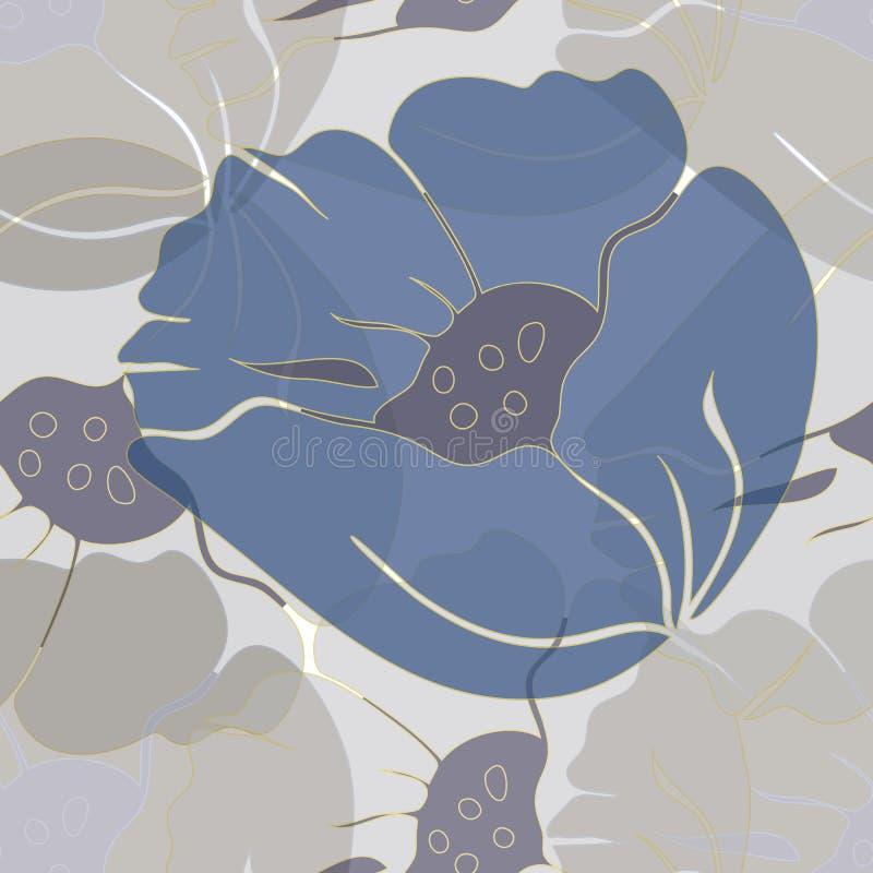 Διανυσματική απεικόνιση των τυποποιημένων αερωδών, αφηρημένων μπλε παπαρουνών ελεύθερη απεικόνιση δικαιώματος