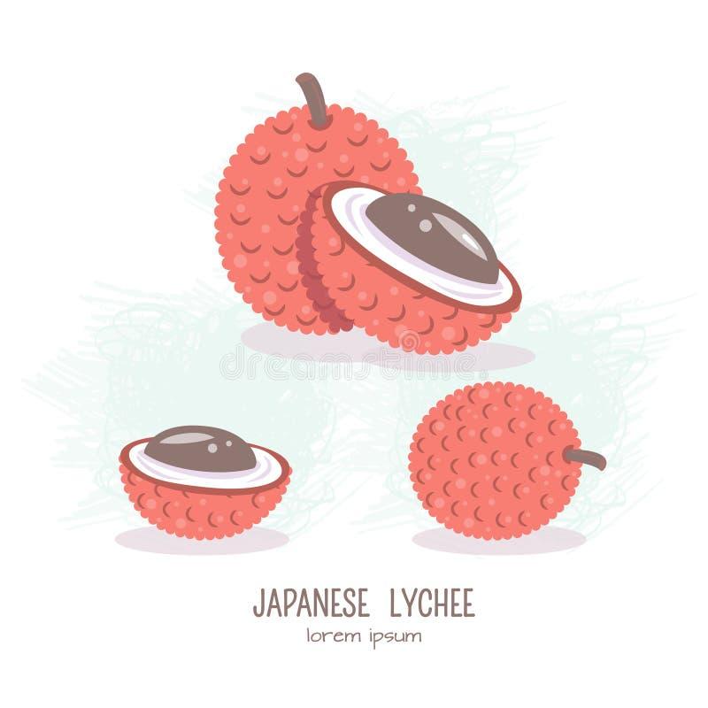 Διανυσματική απεικόνιση των φρούτων Lychee διανυσματική απεικόνιση