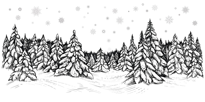 Διανυσματική απεικόνιση των χιονωδών έλατων Χειμερινό δάσος που καλύπτεται με το χιόνι, συρμένο χέρι σκίτσο διανυσματική απεικόνιση