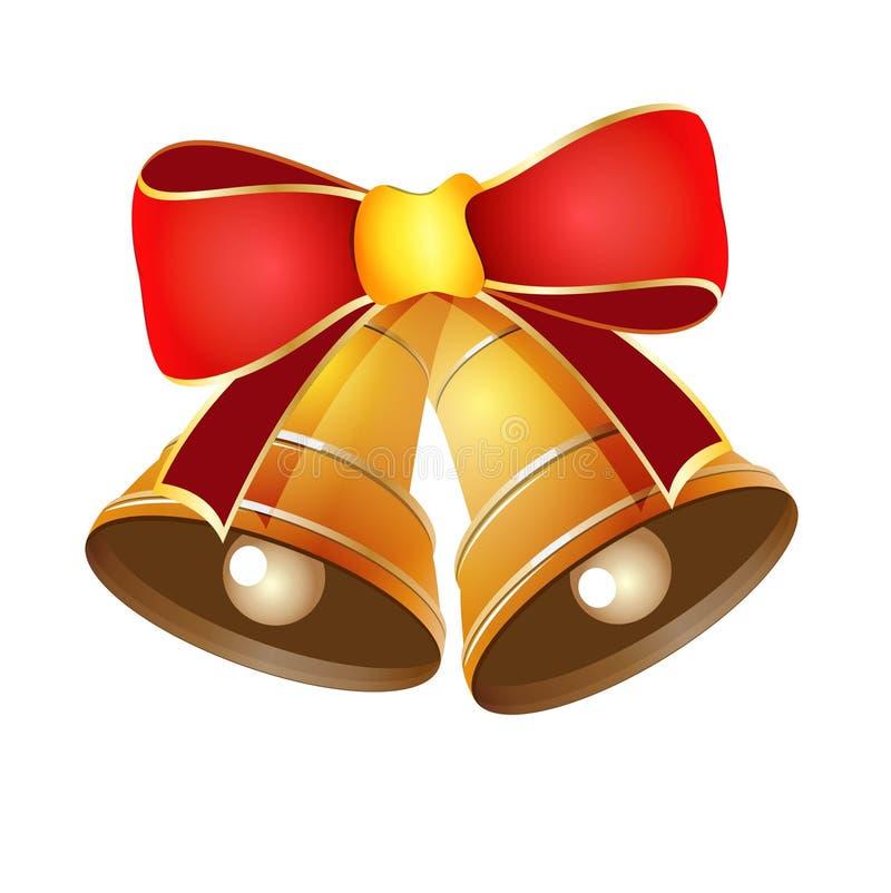 Διανυσματική απεικόνιση των χρυσών κουδουνιών για τα Χριστούγεννα  στοκ φωτογραφία με δικαίωμα ελεύθερης χρήσης
