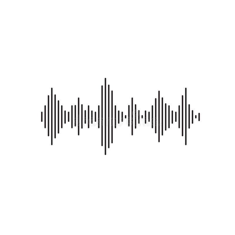 Διανυσματική απεικόνιση υγιών κυμάτων, επίπεδο απλό ακουστικό ή ηχιτικό κύμα ή σήμα γραμμών που απομονώνονται clipart απεικόνιση αποθεμάτων