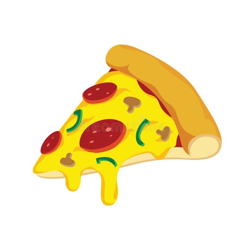 Διανυσματική απεικόνιση φετών πιτσών με το λειωμένο τυρί διανυσματική απεικόνιση