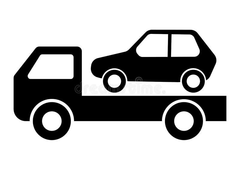 Διανυσματική απεικόνιση φορτηγών αυτοκινήτων ρυμουλκώντας στο άσπρο υπόβαθρο απεικόνιση αποθεμάτων