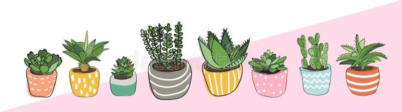 Διανυσματική απεικόνιση φυτών γλαστρών succulents και κάκτος doodles απεικόνιση αποθεμάτων