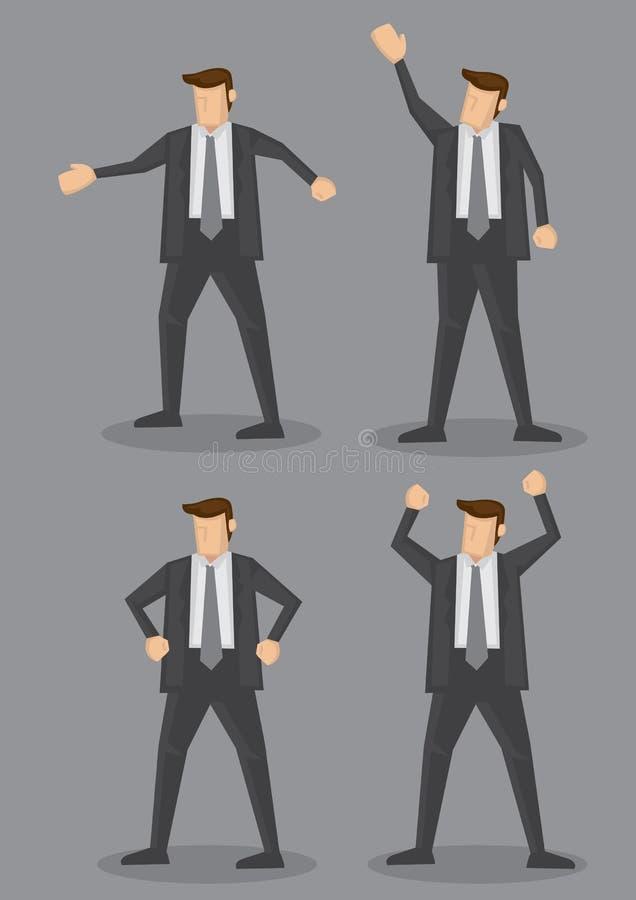 Διανυσματική απεικόνιση χαρακτήρα κινουμένων σχεδίων γλώσσας του σώματος επιχειρηματιών απεικόνιση αποθεμάτων