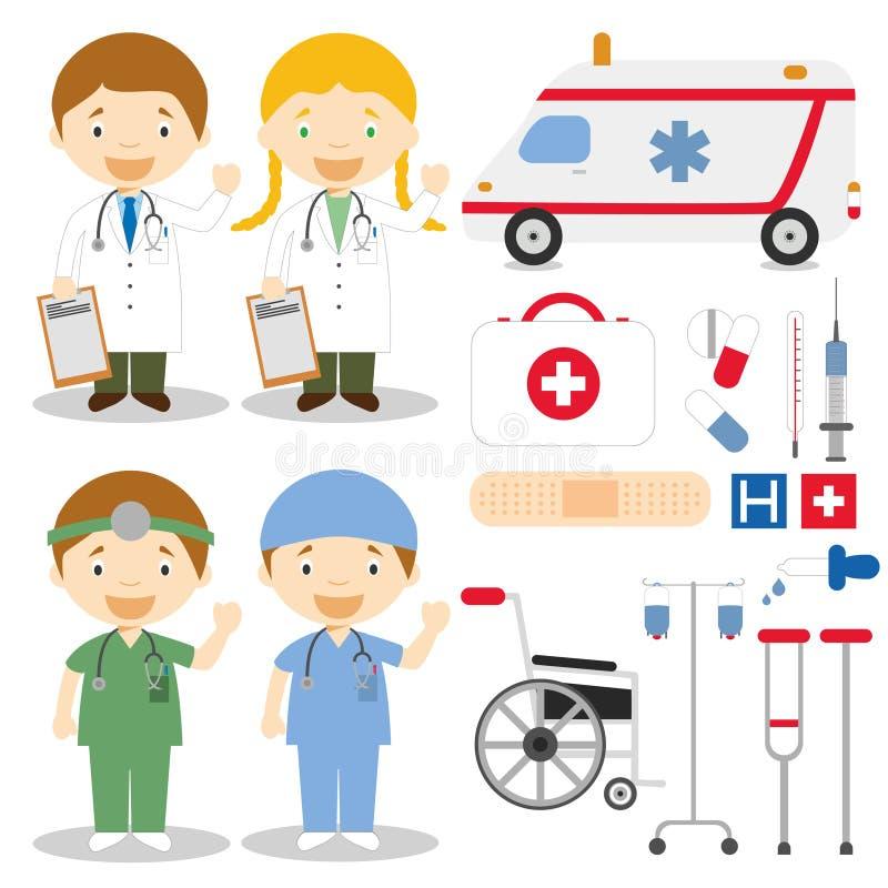 Διανυσματική απεικόνιση χαρακτήρων γιατρών και νοσοκόμων απεικόνιση αποθεμάτων