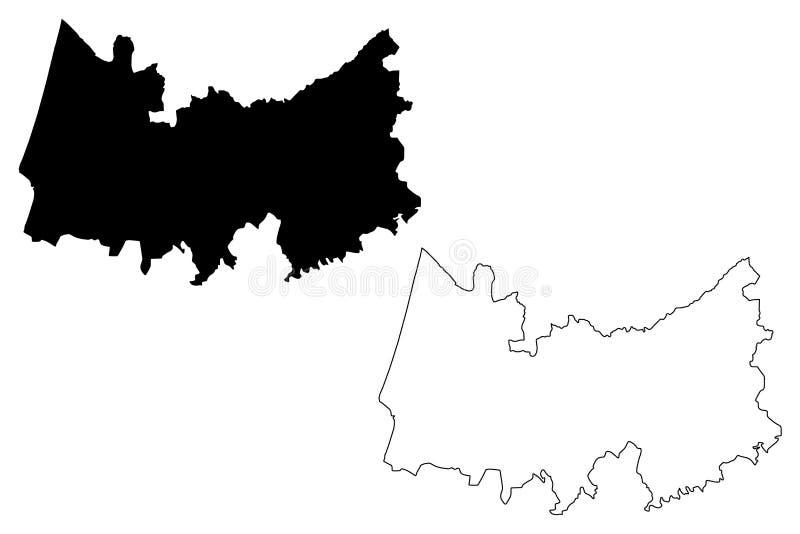 Διανυσματική απεικόνιση χαρτών πορτογαλικής Δημοκρατίας περιοχής της Κοΐμπρα, Πορτογαλία, χάρτης της Κοΐμπρα σκίτσων κακογραφίας διανυσματική απεικόνιση