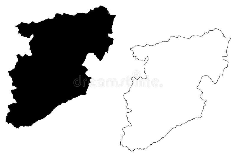 Διανυσματική απεικόνιση χαρτών πορτογαλικής Δημοκρατίας περιοχής του Βιζέου, Πορτογαλία, χάρτης του Βιζέου σκίτσων κακογραφίας διανυσματική απεικόνιση