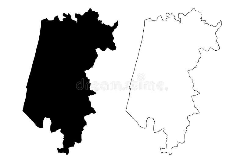 Διανυσματική απεικόνιση χαρτών πορτογαλικής Δημοκρατίας περιοχής του Αβέιρο, Πορτογαλία, χάρτης του Αβέιρο σκίτσων κακογραφίας απεικόνιση αποθεμάτων