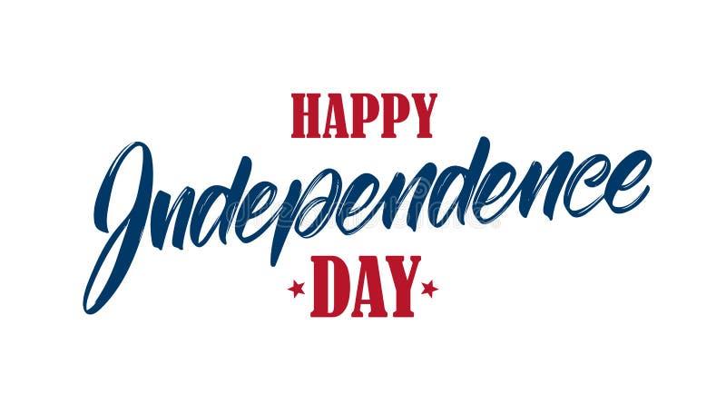 Διανυσματική απεικόνιση: Χειρόγραφη σύνθεση εγγραφής τύπων της ευτυχούς ημέρας της ανεξαρτησίας Τέταρτο του τυπογραφικού σχεδίου  ελεύθερη απεικόνιση δικαιώματος