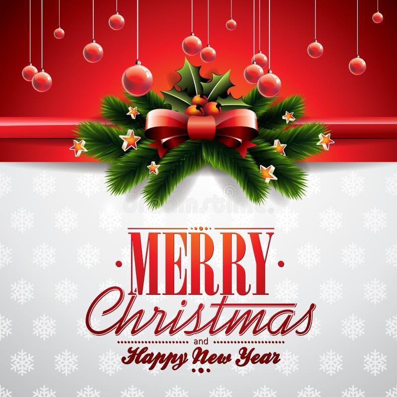 Διανυσματική απεικόνιση Χριστουγέννων με την κορδέλλα και λαμπρά στοιχεία διακοπών στο κόκκινο υπόβαθρο διανυσματική απεικόνιση