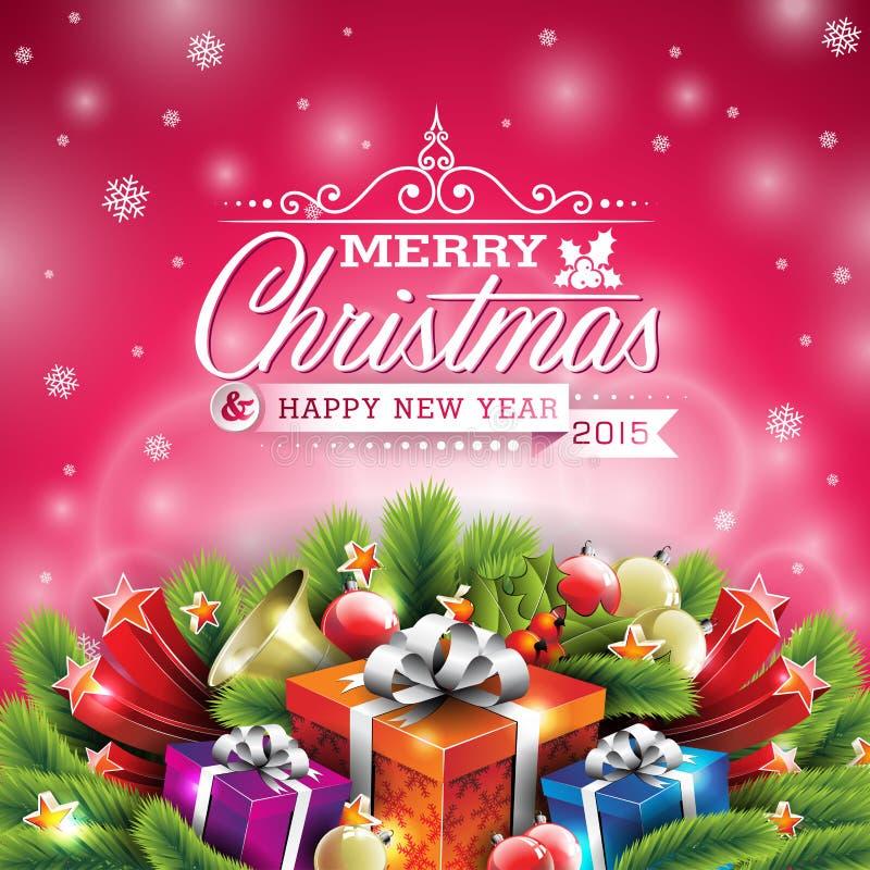 Διανυσματική απεικόνιση Χριστουγέννων με το τυπογραφικό σχέδιο και λαμπρά στοιχεία διακοπών στο κόκκινο υπόβαθρο διανυσματική απεικόνιση