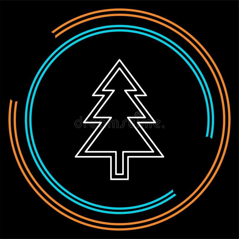 Διανυσματική απεικόνιση χριστουγεννιάτικων δέντρων - σύμβολο σκιαγραφιών Χριστουγέννων, στοιχείο χειμερινών διακοπών που απομονών απεικόνιση αποθεμάτων
