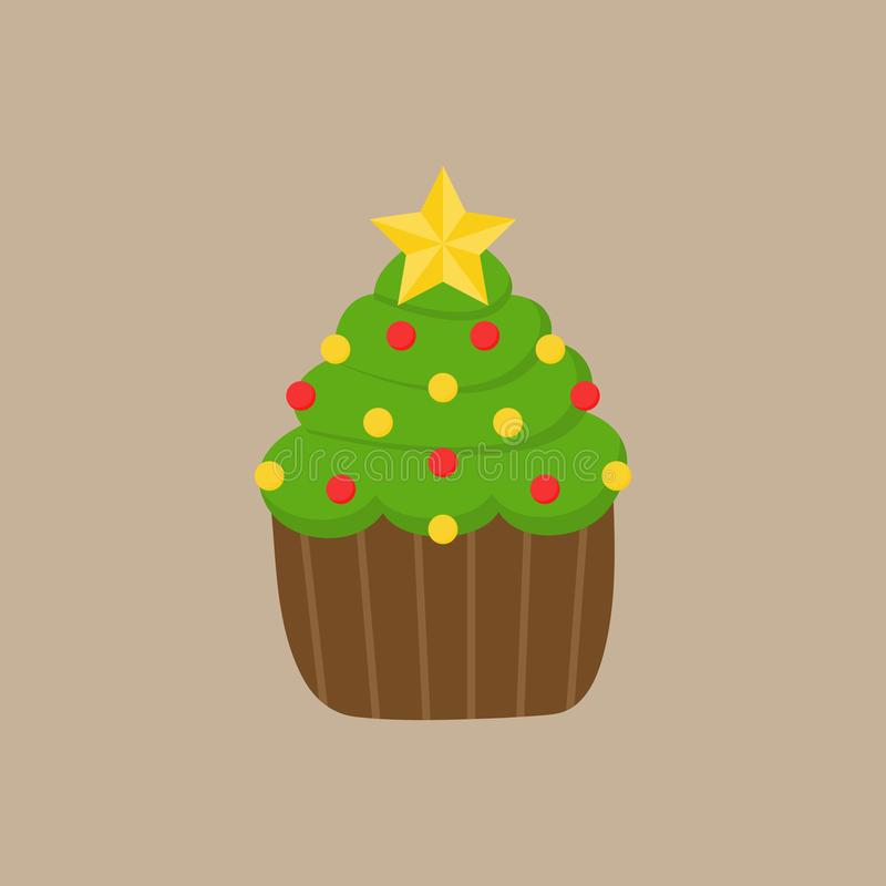 Διανυσματική απεικόνιση χριστουγεννιάτικων δέντρων cupcake ελεύθερη απεικόνιση δικαιώματος