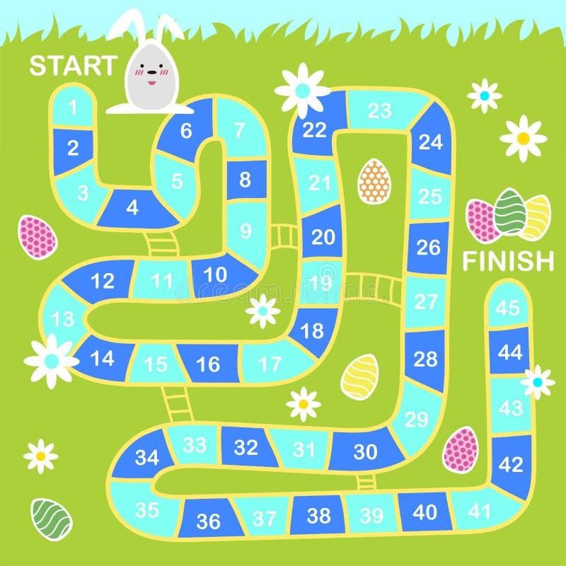 Διανυσματική απεικόνιση ύφους κινούμενων σχεδίων του επιτραπέζιου παιχνιδιού Πάσχας παιδιών με τα σύμβολα διακοπών διανυσματική απεικόνιση