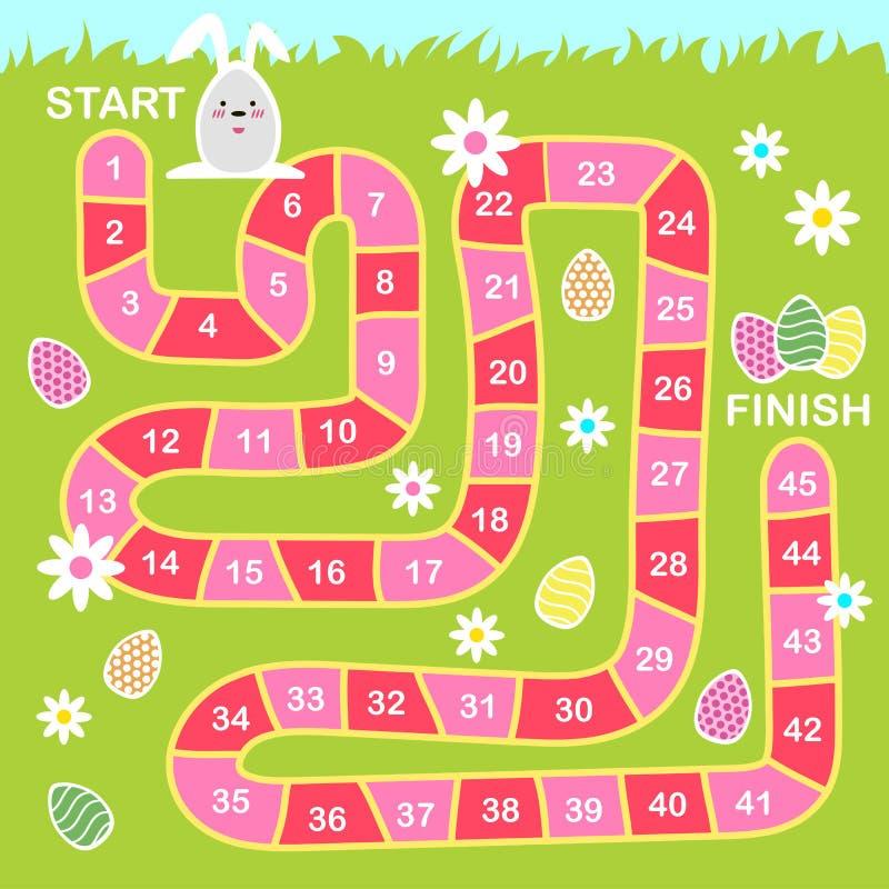 Διανυσματική απεικόνιση ύφους κινούμενων σχεδίων του επιτραπέζιου παιχνιδιού Πάσχας παιδιών με τα σύμβολα διακοπών ελεύθερη απεικόνιση δικαιώματος