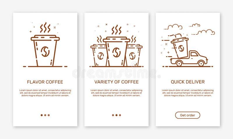 Διανυσματική απεικόνιση app οι οθόνες και η υπηρεσία παράδοσης καφέ έννοιας Ιστού περιλήψεων για τα κινητά apps απεικόνιση αποθεμάτων