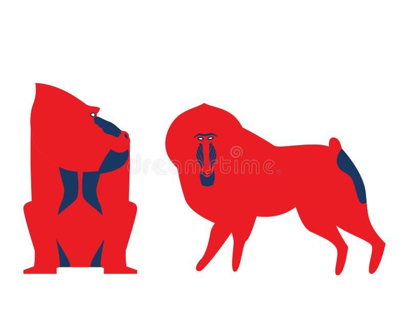 Διανυσματική απεικόνιση baboon Διανυσματικό baboon στα ασυνήθιστα τολμηρά χρώματα Baboon σε differeent θέτει το σύνολο ελεύθερη απεικόνιση δικαιώματος