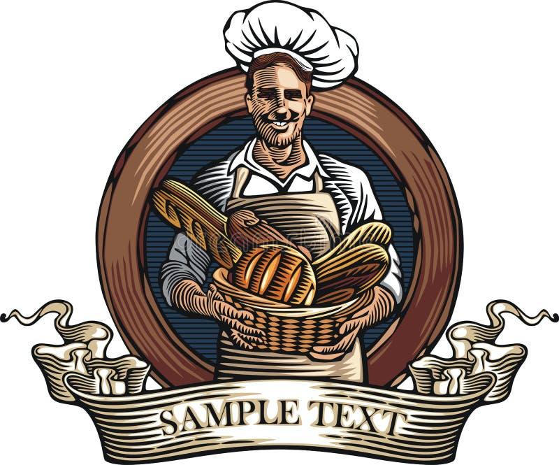Διανυσματική απεικόνιση Baker στο ύφος ξυλογραφιών ελεύθερη απεικόνιση δικαιώματος