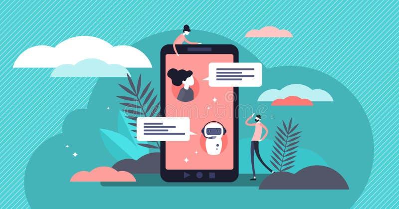 Διανυσματική απεικόνιση Chatbot Επίπεδη μικροσκοπική εικονική έννοια προσώπων συνομιλίας απεικόνιση αποθεμάτων