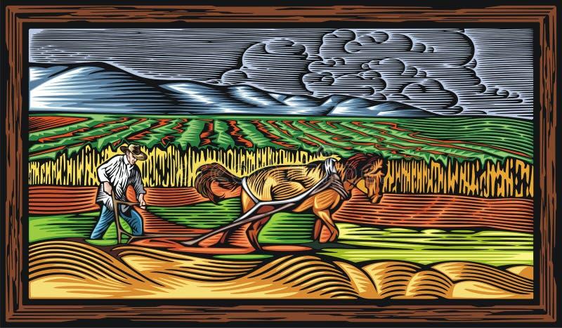 Διανυσματική απεικόνιση Countrylife και καλλιέργειας στο ύφος ξυλογραφιών διανυσματική απεικόνιση