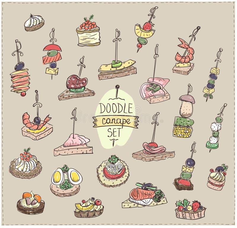 Διανυσματική απεικόνιση Doodle με τα καναπεδάκια και τα σάντουιτς απεικόνιση αποθεμάτων