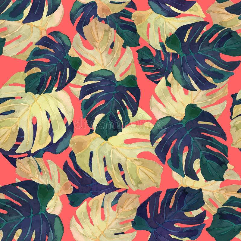 Διανυσματική απεικόνιση floral άνευ ραφής Τα πράσινα φύλλα τεράτων σύρουν διανυσματική απεικόνιση