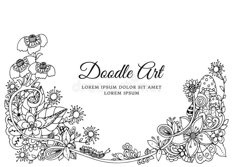 Διανυσματική απεικόνιση, floral πλαίσιο Σχέδιο Doodle Αντι πίεση βιβλίων χρωματισμού για τους ενηλίκους Στοχαστικές ασκήσεις μαύρ ελεύθερη απεικόνιση δικαιώματος