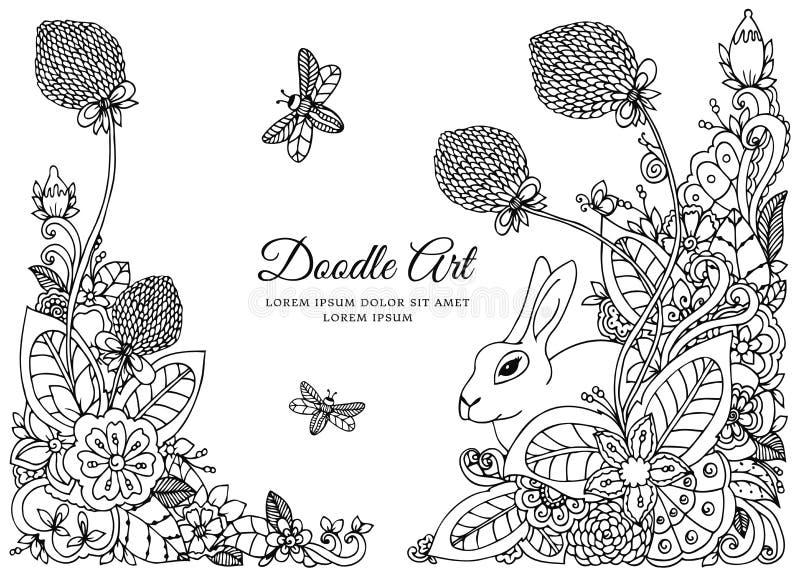 Διανυσματική απεικόνιση, floral πλαίσιο Σχέδιο Doodle Αντι πίεση βιβλίων χρωματισμού για τους ενηλίκους Στοχαστικές ασκήσεις μαύρ απεικόνιση αποθεμάτων