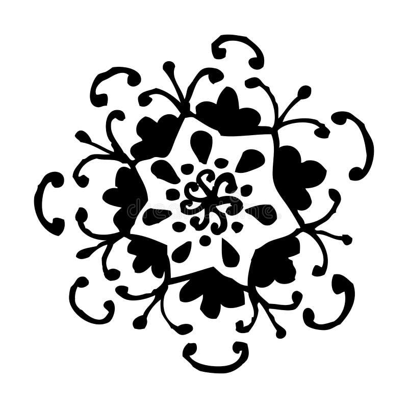 Διανυσματική απεικόνιση Mandala λουλουδιών Ενήλικη χρωματίζοντας σελίδα Κυκλικό αφηρημένο floral ασιατικό σχέδιο, τρύγος διακοσμη απεικόνιση αποθεμάτων